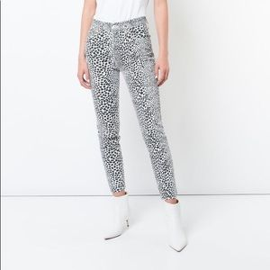 REDONE Stretch High Rise Ankle Crop Cheetah Jeans